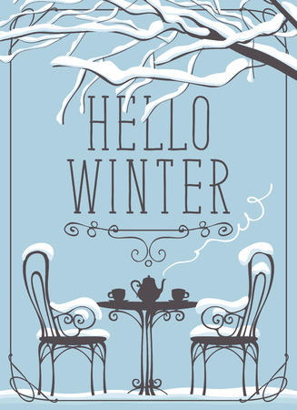 Vector winter banner with lettering Hello winter, snow-covered tree and open-air cafe with hot tea on the table in curly frame Çizim
