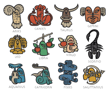 Vector set of twelve signs of the zodiac in the form of bright colored funny monsters in flat style. Icons for astrology horoscopes