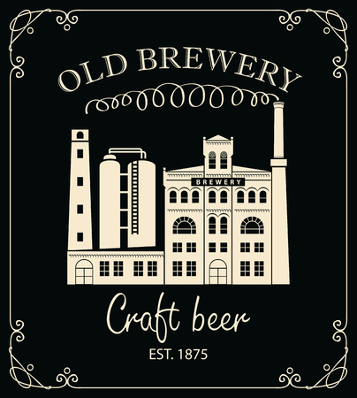 Vector banner for craft beer with image of the building of the old brewery and the inscription in a retro style in curly frame on black background. Çizim