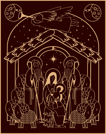 Vector illustration on the theme of christmas and new year. Adoration of the Magi. Holy Family and Christmas angel.