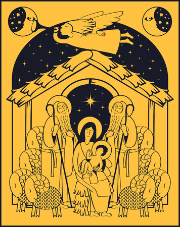Vector illustration on the theme of christmas and new year. Adoration of the Magi. Holy Family and Christmas angel