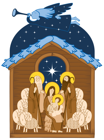 Vector illustration of holy family  in Christmas theme icon