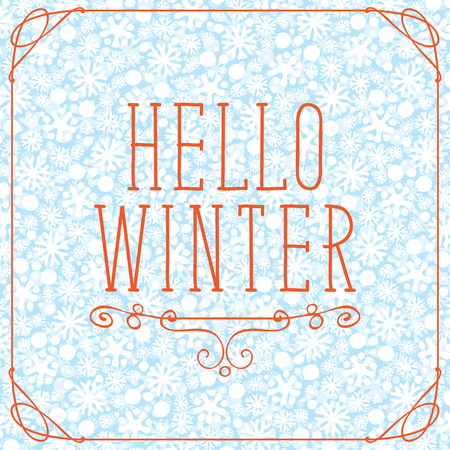 Vector banner with lettering 'Hello Winter' on the background of seamless pattern of white snowflakes in curly frame Illustration