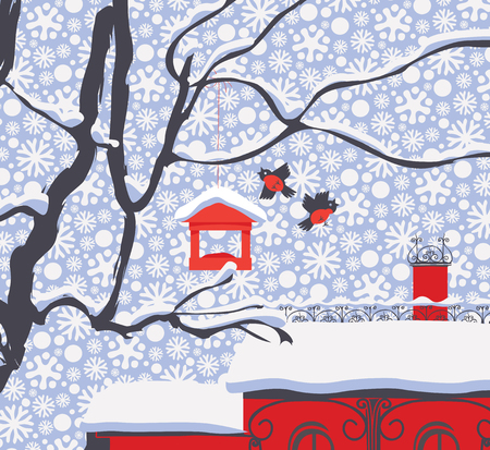 Vector winter landscape with snow-covered roofs, branches of a tree, bullfinches and a bird feeder in the snow in flat style on the background of seamless pattern of white snowflakes Çizim