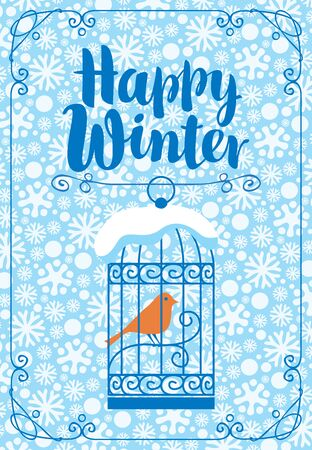 Winter banner with inscription Happy Winter. Illustration