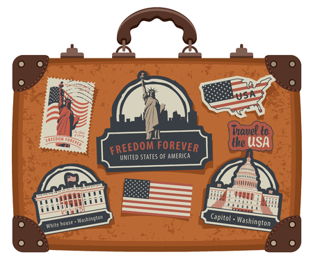Image of travel suitcase with stickers set with American symbols. 일러스트