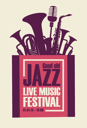 Vector poster for a jazz festival live music with saxophone, wind instruments and a microphone in retro style on white background Illustration