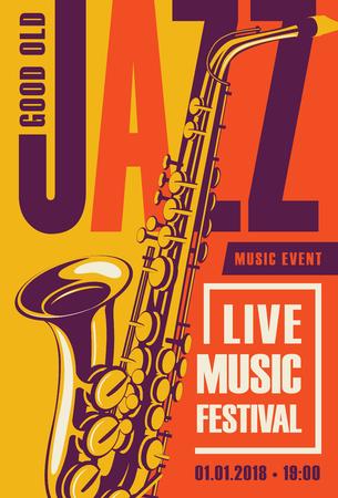 재즈 축제에 대 한 벡터 포스터 복고 스타일 색소폰와 노란색과 오렌지 배경에 라이브 음악