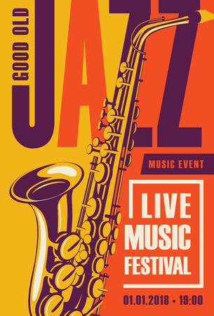 Vector poster for a jazz festival live music with a saxophone in retro style on yellow and orange background