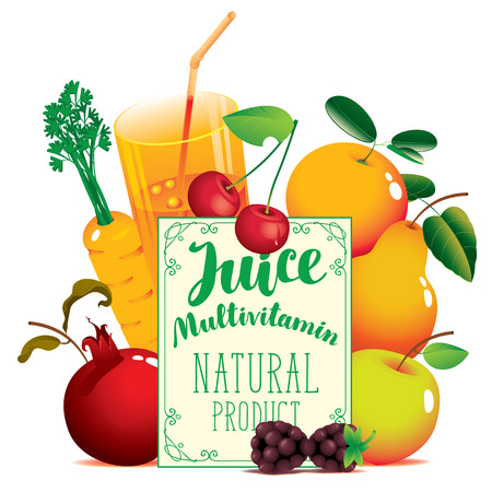 A Vector banner for natural fresh juice with inscription Juice Multivitamin, with different fruits, berries and glass of juice