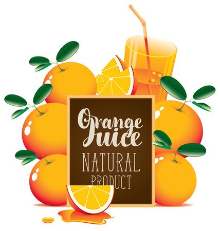 A Vector banner for fresh juice with oranges, glass of juice, orange slice and blackboard with inscription Orange juice