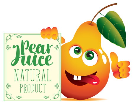 Vector banner for natural fresh juice with funny pear and signboard with inscription Pear juice Illustration