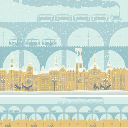 Old town illustration. Ilustração