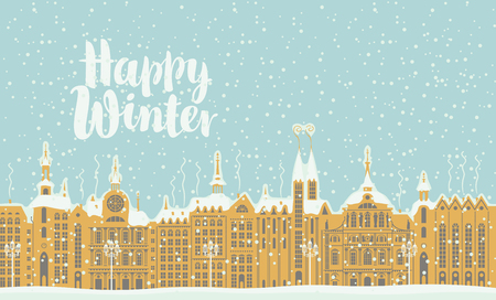 Vector illustration with old winter European city with snow-covered buildings. Banner or card with handwriting inscription Happy Winter Illustration