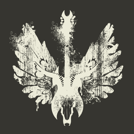 Vector illustration with an electric guitar, skull of goat and wings with splashes and curls in grunge style