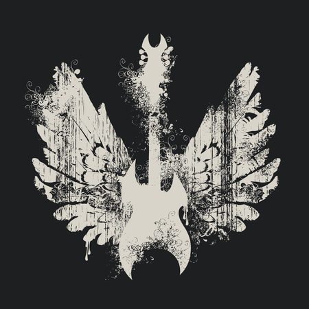Vector illustration with an electric guitar and wings with splashes and curls on black background in grunge style Иллюстрация