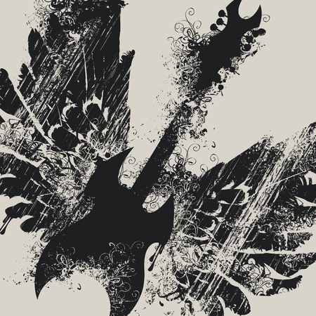 Vector illustration with an electric guitar and wings with splashes and curls in grunge style