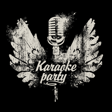 Vector banner for karaoke party with a microphone and wings with splashes and curls on black background in grunge style Illustration