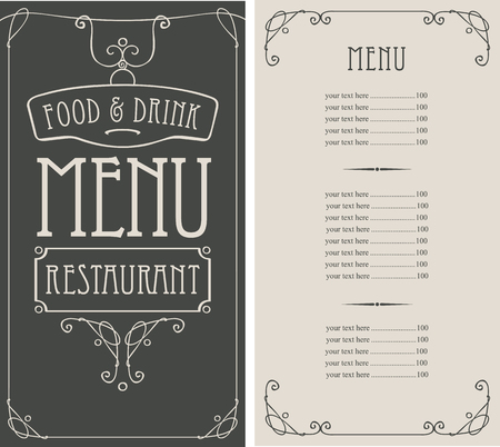 Vector template menu for restaurant with price list in curly frame in retro style