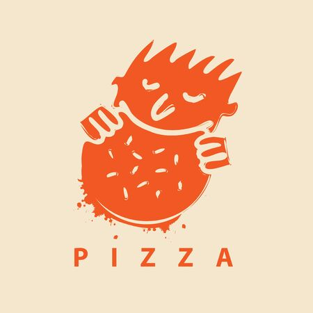 Vector banner or logo for pizza restaurant with the little man who eats pizza and inscription Pizza