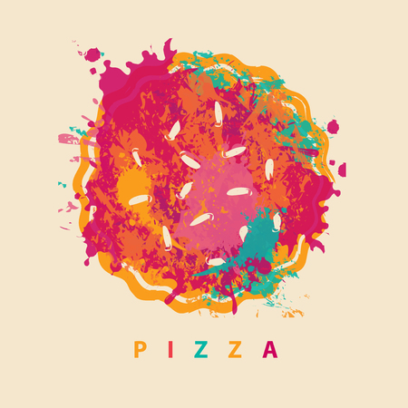 Vector banner with abstract image of pizza in the form of colorful spots and splashes and the lettering pizza. Illustration