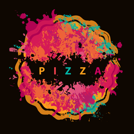 Vector banner with abstract image of pizza in the form of colorful spots and splashes and the lettering pizza on black background.