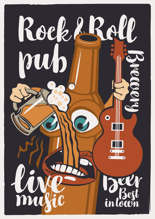 Vector banner for Rock and roll pub with inscriptions brewery, beer, best in town, live music. Illustration in a flat style with a cheerful bottle of beer that holds a guitar and a full glass of beer Çizim