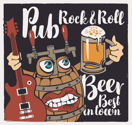 Vector banner with inscriptions Rock-n-roll pub, best beer in town. Illustration in a flat style with a fun beer monster in the form of a barrel that holds a guitar and a full glass of beer Çizim