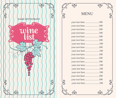 Vector wine list for restaurant or cafe menu with price list and bunch of grapes in curly frame on wavy background in retro style