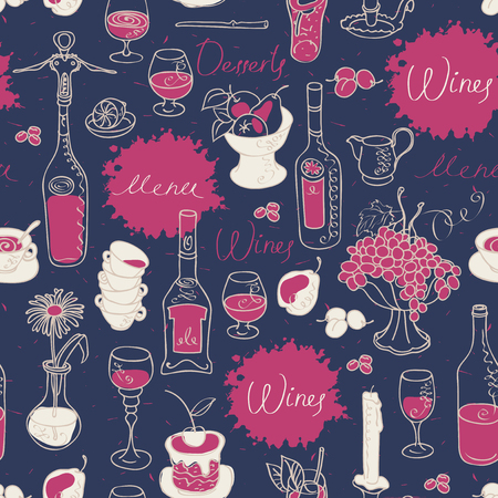 Wine with tableware and fruit vector seamless pattern. Set of contour drawings with spots and splashes in retro style. Illustration