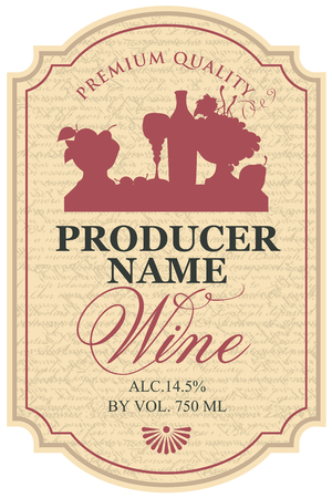 Vector wine label with the silhouette still life of bottle, wine glass and bowl of fruit in the notched frame on the manuscript background in retro style Illustration