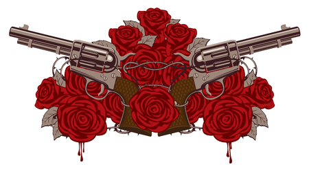 Vector illustration with two big old revolvers, red roses and barbed wire isolated on white background.