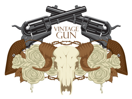Vector emblem with skull of sheep, white roses, big old revolvers and barbed wire isolated on white background with words Vintage gun