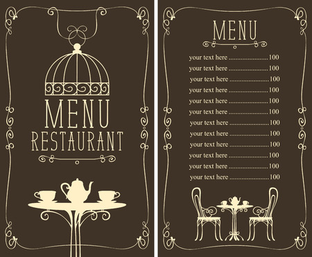Vector menu for restaurant or cafe with a price list and a table, chairs and tea in a curly frame in the art Deco style Illustration