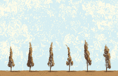 Vector landscape with trees in a field on blue sky background in grunge style. Seamless pattern of trees with leaves. Drawing pencil abstract sketches of trees