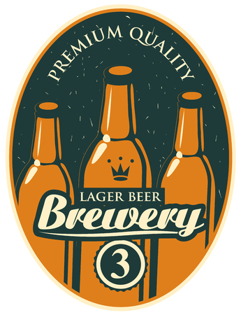 Vector label or banner for the brewery, with a calligraphic inscription and three beer bottles on old paper background in oval frame