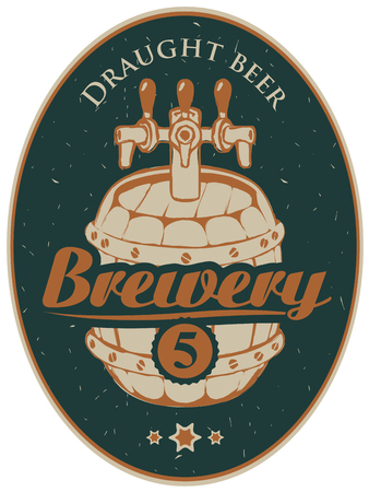 Vector label or banner for the brewery, with a calligraphic inscription and a wooden beer barrel on old paper background in oval frame
