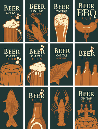 Vector set of business cards for the pub on the subject of beer and snacks from SEAFOOD