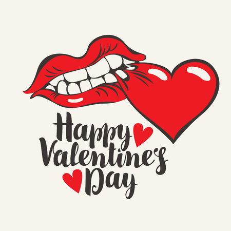 Vector tarjeta de felicitación o banner con inscripción caligráfica Feliz día de San Valentín con una boca humana mordiendo un corazón rojo