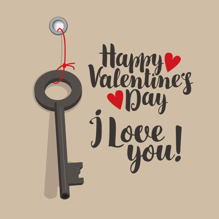 Vector greeting card with inscription Happy Valentines Day with red hearts and key. Valentine card with inscription I Love you. Vettoriali
