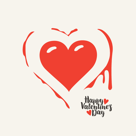 Vector greeting card or banner with heart and blood with calligraphic inscription for Valentines Day