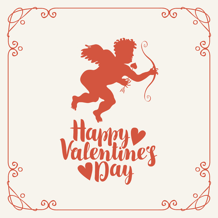 Vector banner or greeting card with a calligraphic inscription Happy Valentines day with hearts. Cupid with bow and arrow in a frame with curls