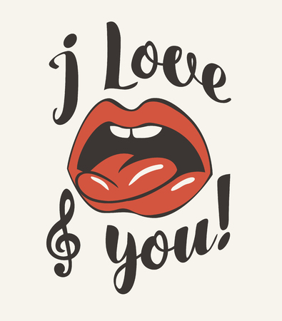 Vector banner with calligraphic inscription I love you with an open human mouth, tongue and treble clef Ilustração