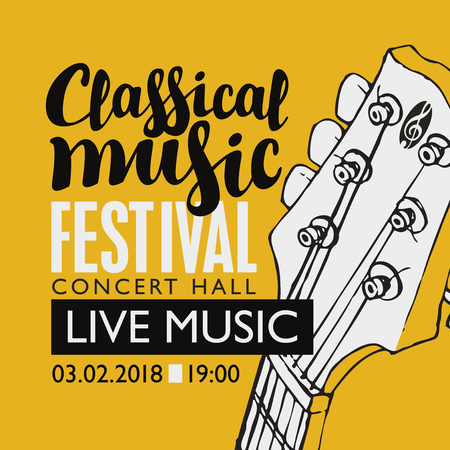 Vector banner for a festival live music with inscription and neck of a guitar in retro style Illustration