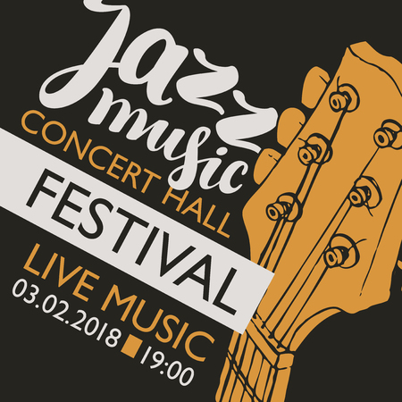 Vector banner for a live music festival with inscription and neck of a guitar in retro style Illustration
