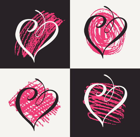 Vector collection of hand drawn graphic hearts.