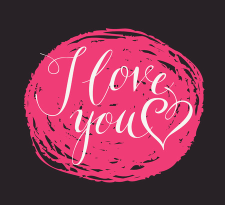 Vector handwritten calligraphic inscription I Love You with heart. White handwriting creative lettering on pink scribble on black background, design element for holiday cards and invitations