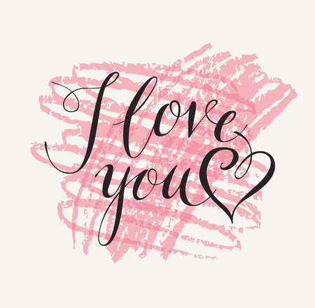 Vector handwritten calligraphic inscription I Love You with heart.