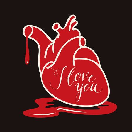 Vector greeting card or banner with human heart and blood with calligraphic inscription I love you