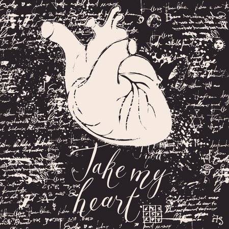 Vector greeting card for Valentines day or an invitation with human heart on the background of manuscript with blots. Handwritten calligraphic inscription phrase Take my heart. Иллюстрация